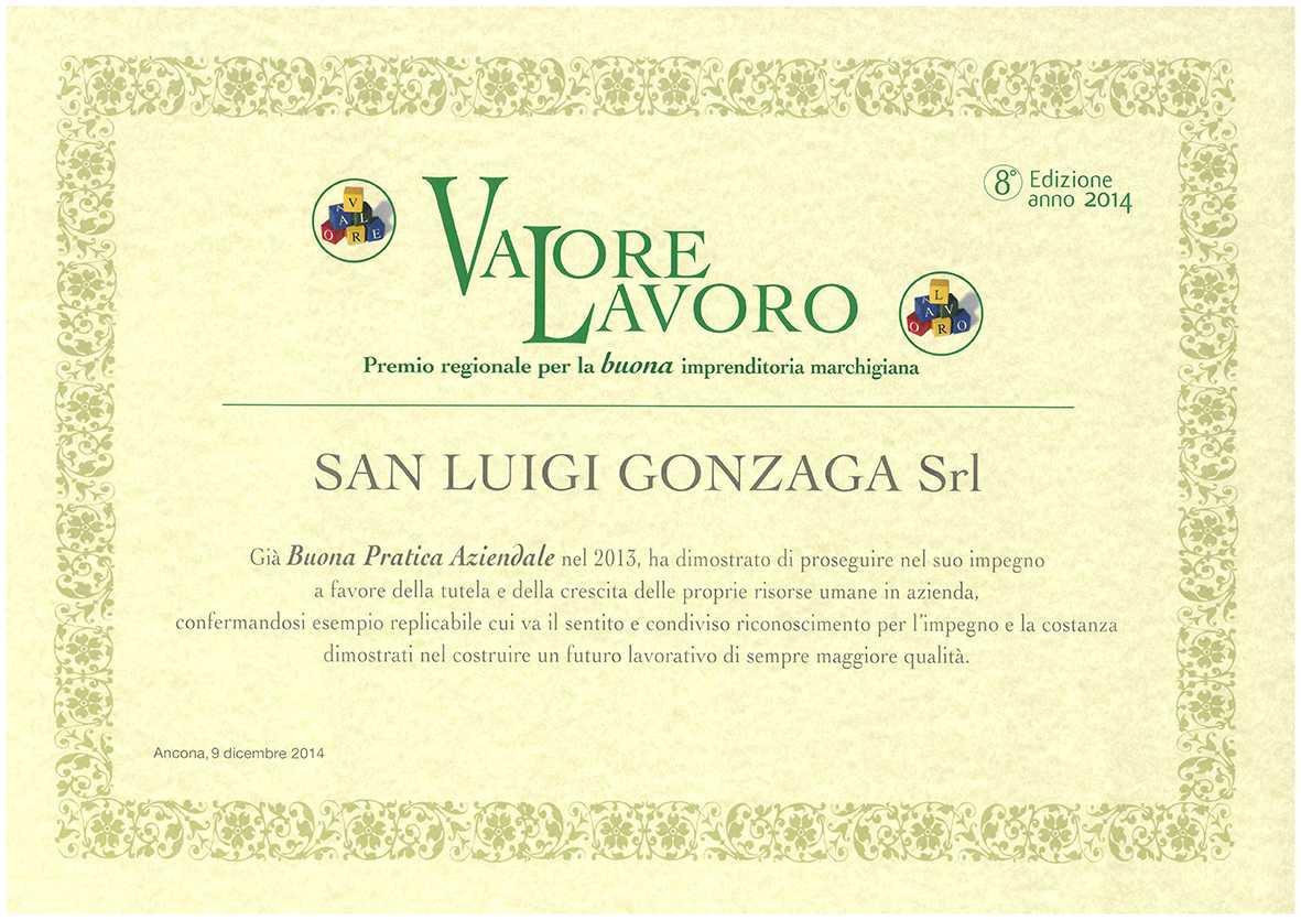 Attestato premio Valore Lavoro assegnato dalla Regione Marche